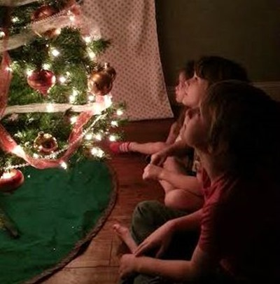 kids gazing at tree
