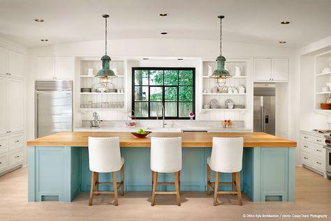turquoise lights kitchen